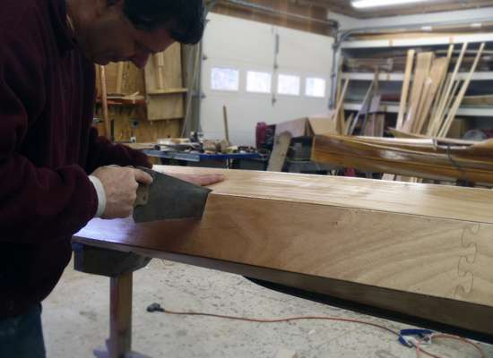 Sectional Shearwater kayak build - sawing between the bulkheads