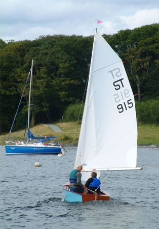 Sailing a Signet single class racer in a light breeze