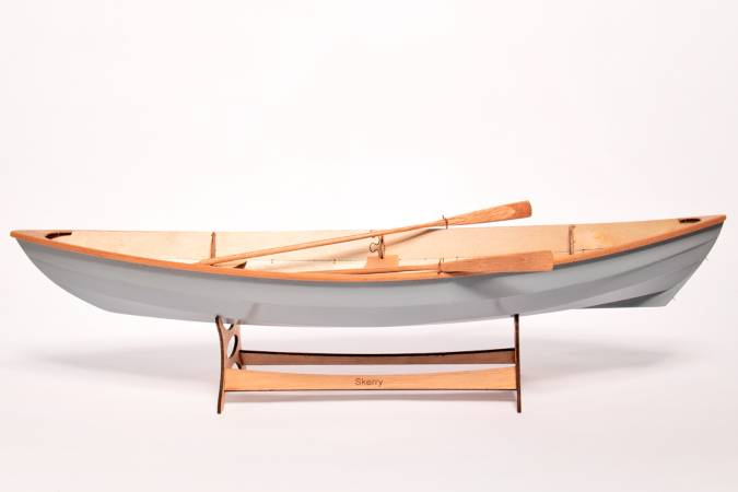 A scale model of the Skerry, set up as a rowing boat