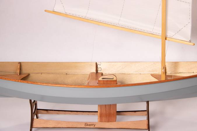 A scale model of the Skerry, set up as a sailing boat with the lug rig