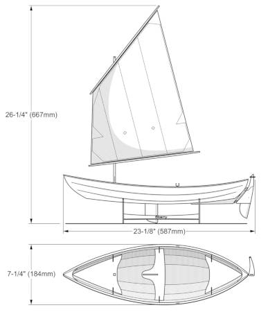A scale model of the Skerry, constructed like the full-size boat