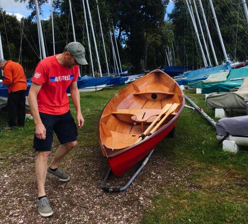 The Skerry is a 15ft wooden rowing and sailing boat, built from a kit