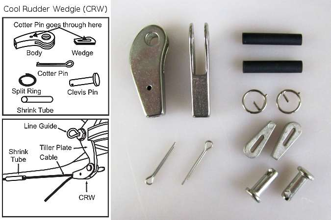 Smart Track Cool Rudder Wedgie (CRW) allows fine adjustments to rudder cables without tools