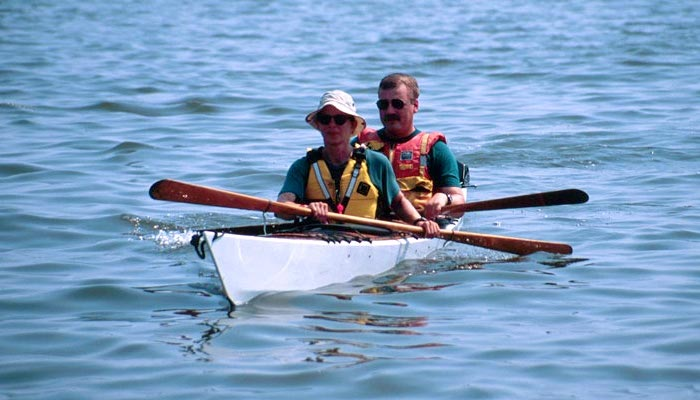 Sport tandem kayak at sea