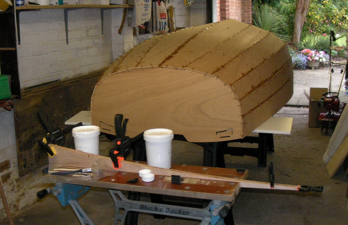 Professional Epoxy Coatings used to glue together a wooden stem dinghy