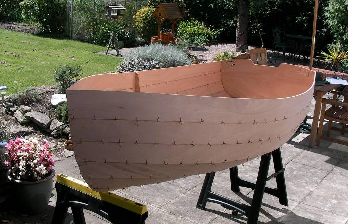 Building a boat kit in the garden