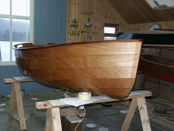 A clinker bow on a rowing boat made from a kit supplied by Fyne Boat Kits