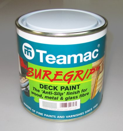 Teamac Suregrip is a high quality marine anti-slip paint intended to help protect crew against slipping on boat decks