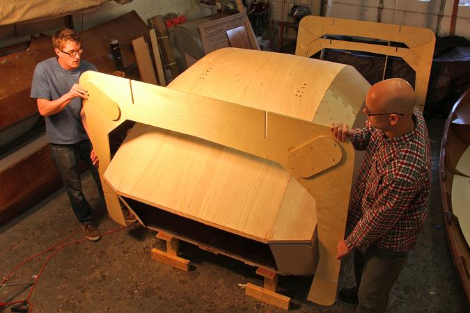 Removing the teardrop caravan from the mould