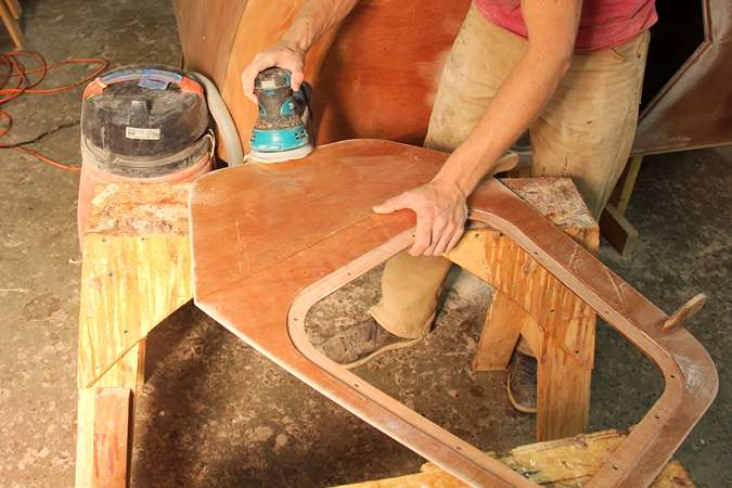 Building the teardrop caravan - sanding the doors