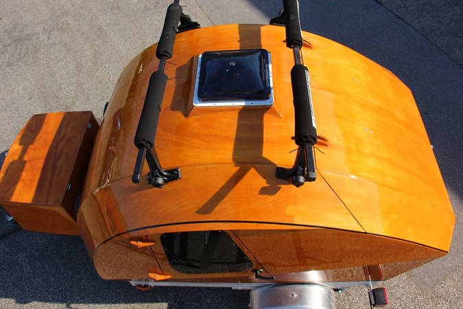 The Teardrop Camper's large roof hatch provides ventilation