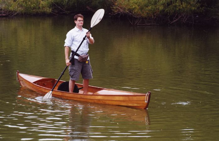 Stable enough to stand in home made canoe