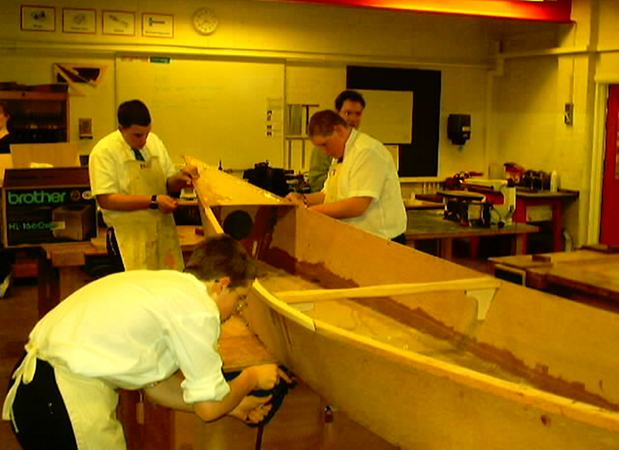 School building a wooden canoe from Fyne Boat Kits