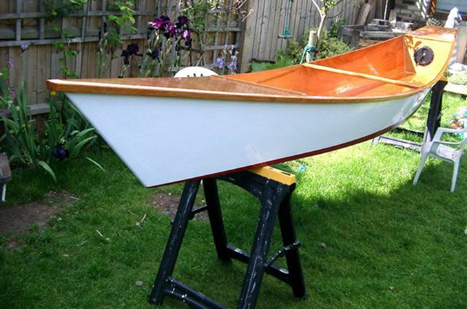 Wastwater canoe in the garden after painting