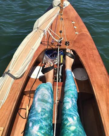 The pedal drive alone can drive the Waterlust canoe to hull speed