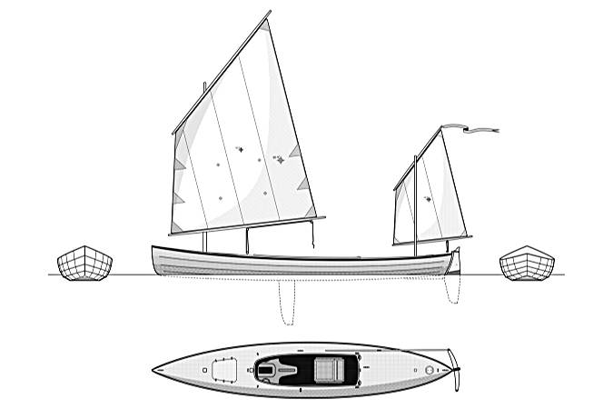 Line drawing of the Waterlust sailing canoe