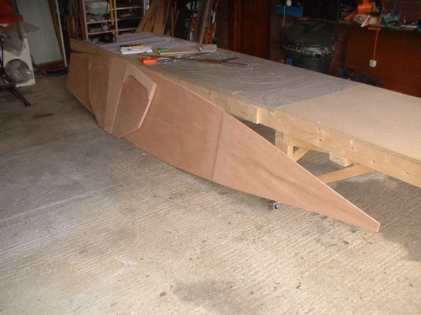 Building keel of 13 foot Houdini sailing dinghy from plans