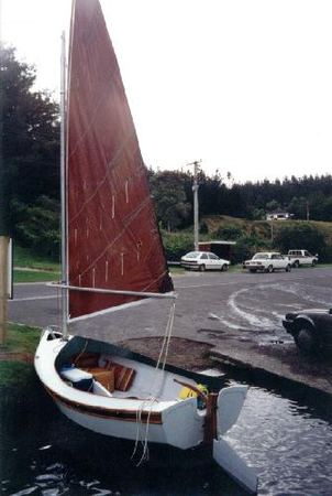 Home made 13 foot sailing boat built from plans from Fyne Boat Kits