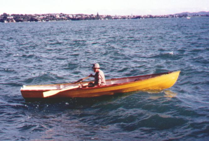 Rowing a self built wooden Joansa boat