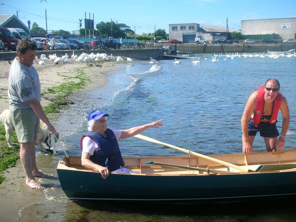 Launching a Welsford Joansa rowing boat built from plans supplied by Fyne Boat Kits