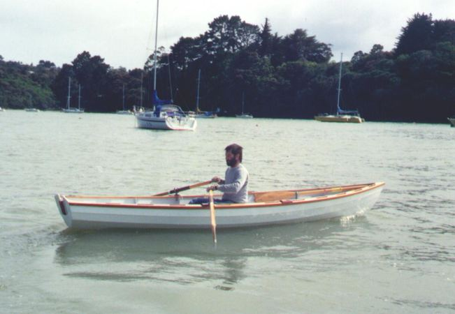 Welsford in his own design rowing boat Joansa