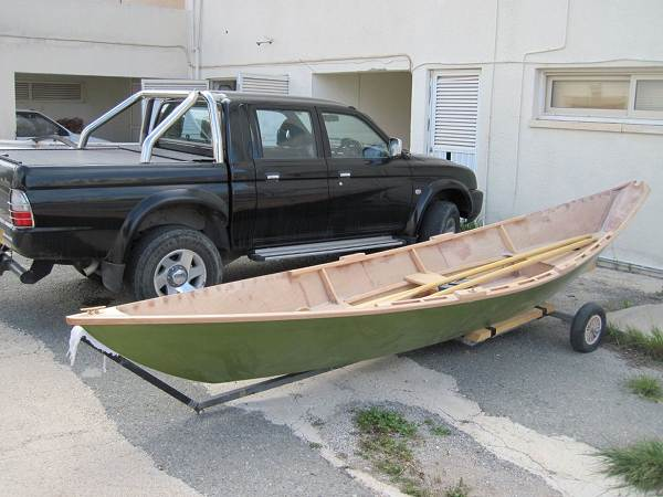 Completed light dory rowing boat built at home
