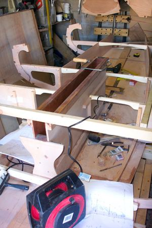Building a Navigator from a Fyne Boat Kit - bulkheads are attached to the frame