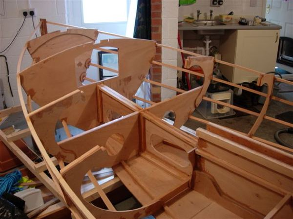 Building a Navigator from a Fyne Boat Kit - panels being attached