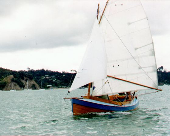 Sailing hard a self built Navigator dinghy by John Welsford and Fyne Boat Kits