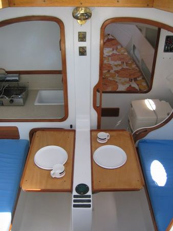 Dining area in sailing yacht built from plans from Fyne Boat Kits