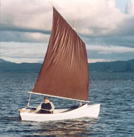 Sailing a home made Truant boat by Welsford from Fyne Boat Kits