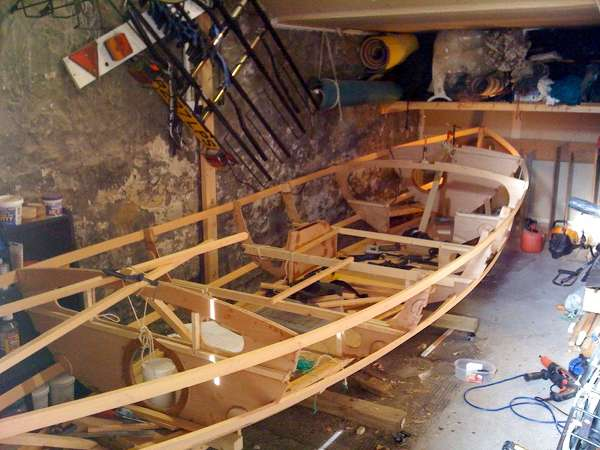 Wooden sailing dinghy under construction