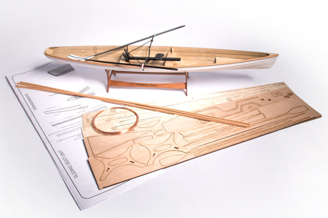 Kit contents for the scale model of the Annapolis Wherry