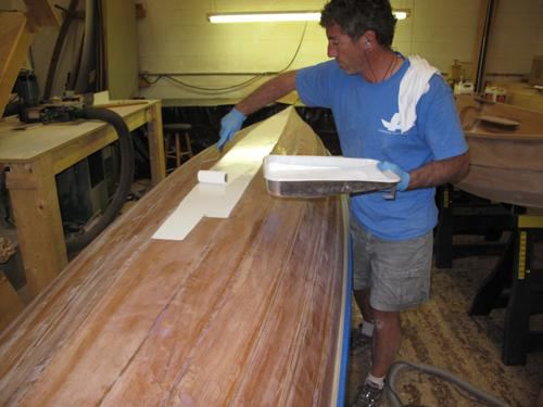 Building a wooden wherry tandem rowing boat painting