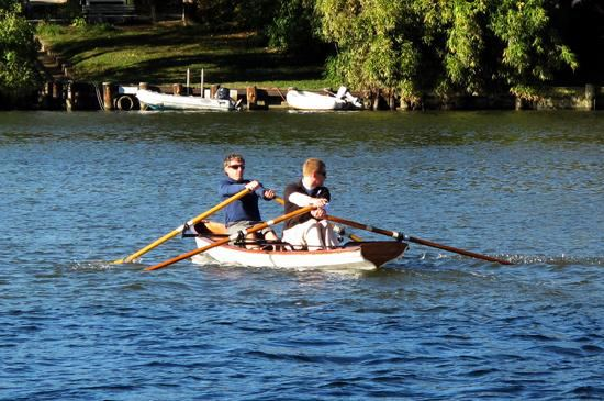 Fyne Boat Kits wooden two person rowing wherry going fast