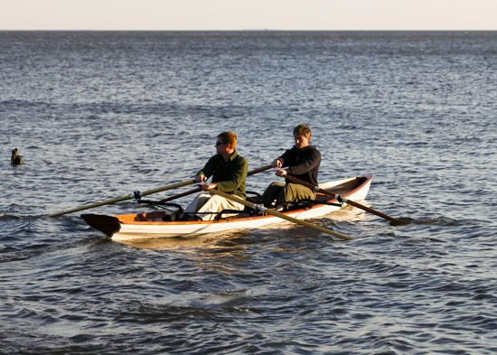 Build it yourself fast clinker style rowing boat for two people