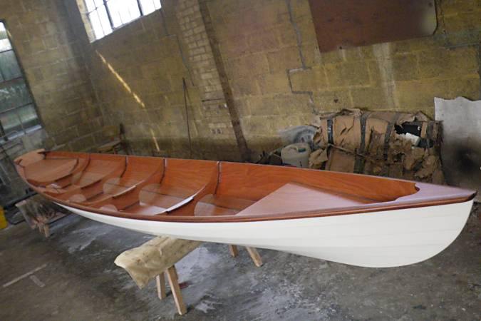 Tandem Wherry wooden rowing boat for two sliding seats