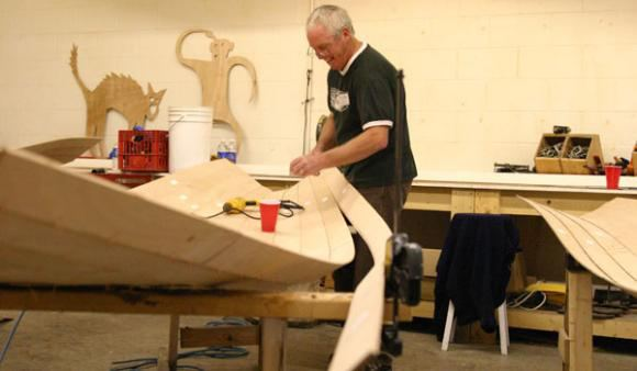 Chesapeake Light Craft wherry kit wiring the stitches