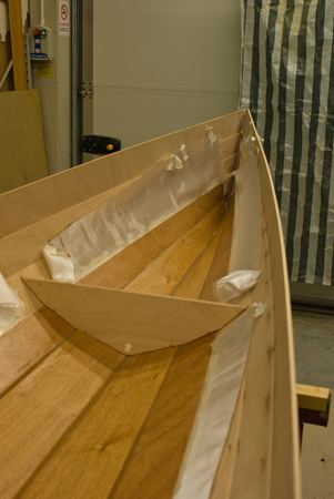 Bow completion on a wherry rowing boat kit
