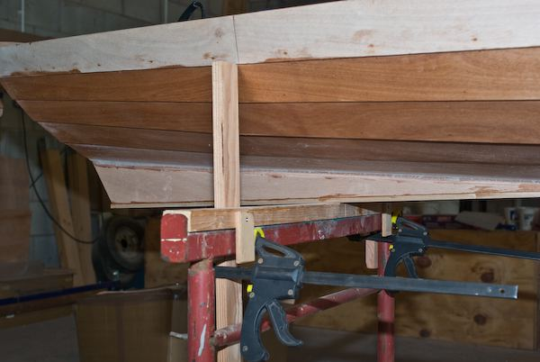 Close up of the skeg on a wherry rowing boat during the building of a kit