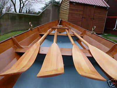 Completed wherry rowing boat including spoon blade oars