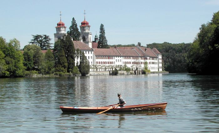 Fyne Boat Kits wherry in a lake in Switzerland