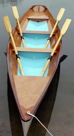 Wooden rowing Wherry with two fixed seats just launched after building