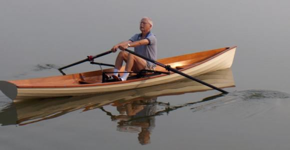 Rowing a wherry in calm water