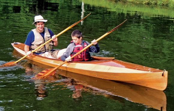 The Wood Duck Double is a compact tandem kayak built from a wooden kit