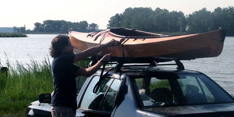 Wooden kayak for a car roof rack