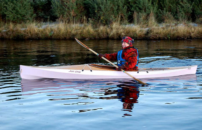Wood Duck 10 recreational kayak built and painted pink