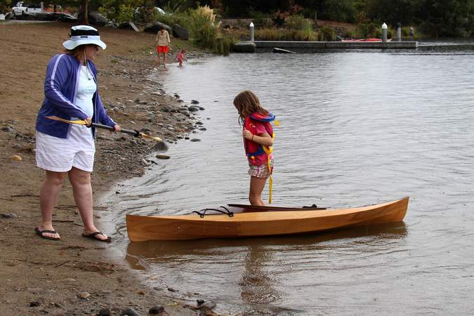 The Wood Duckling is a stylish wooden kayak for children