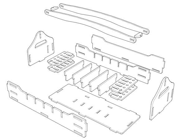 An exploded diagram of the wooden toolbox kit