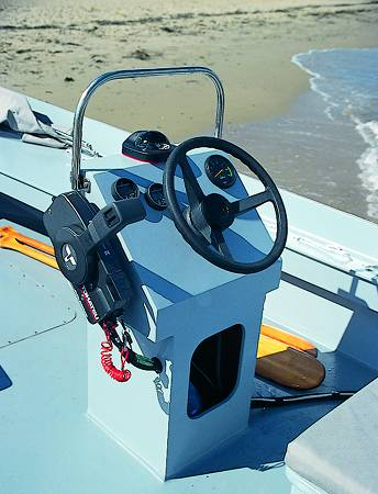 The centre steering console of the Workstar 17 workboat